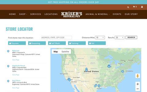 Screenshot of Locations Page krisers.com - Kriser's – Kriser's - captured Feb. 3, 2019