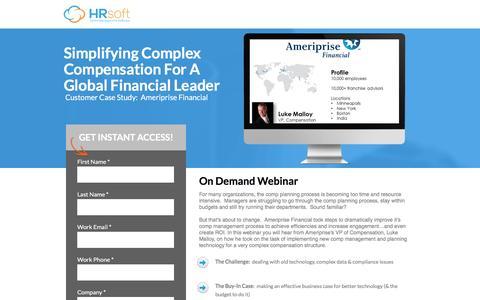 Screenshot of Landing Page hrsoft.com - Simplifying Complex Compensation For A Global Financial Leader - captured Sept. 6, 2016