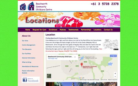 Screenshot of Locations Page beechworthchildcare.com.au - Beechworth Childcare Centre North East Victoria Australia - captured June 16, 2016