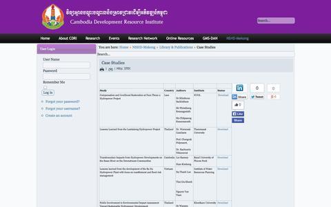Screenshot of Case Studies Page cdri.org.kh - Case Studies - captured Oct. 1, 2014