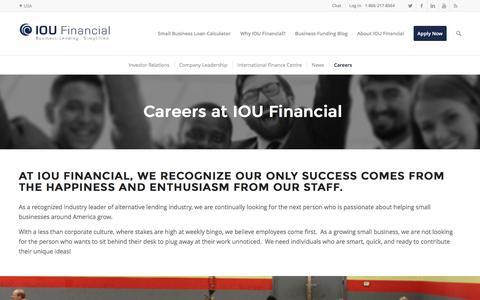 Screenshot of Jobs Page ioufinancial.com - Careers | IOU Financial - captured Dec. 21, 2015