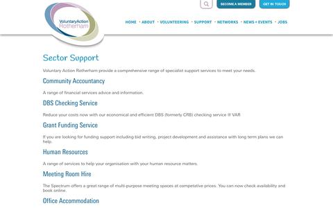 Screenshot of Support Page varotherham.org.uk - Sector Support - Voluntary Action Rotherham         :        Voluntary Action Rotherham - captured Oct. 7, 2014