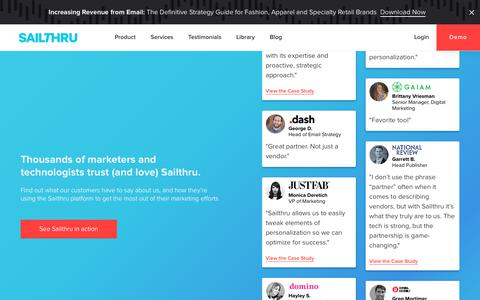 Screenshot of Testimonials Page sailthru.com - Email Marketing Case Studies | Sailthru Customers - captured June 26, 2019
