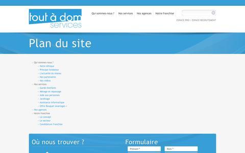 Screenshot of Site Map Page toutadomservices.com - Plan du site | Tout à dom services - captured Oct. 9, 2014