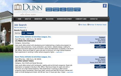 Screenshot of Jobs Page dunnchamber.com - Job Search - Dunn Area Chamber of Commerce North Carolina > - captured Oct. 5, 2014