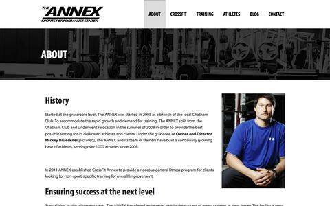 Screenshot of About Page annexsportsperformance.com - Annex Sports Performance   Athletic training New Jersey in Chatham, NJ - captured Oct. 4, 2014
