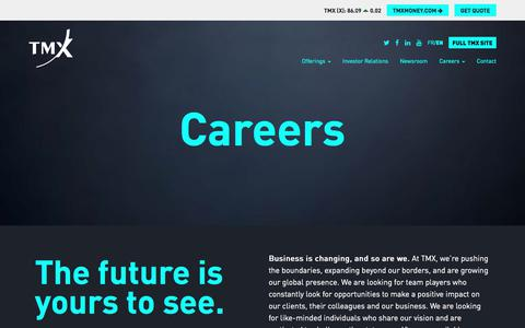 Screenshot of Jobs Page tmx.com - TMX - Careers - captured Sept. 24, 2018