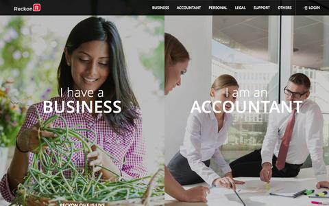 Screenshot of Home Page reckon.com - Accounting, Business & Bookkeeping Software | Reckon - captured Sept. 23, 2014