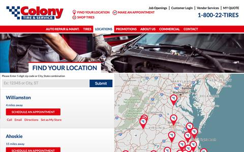 Screenshot of Locations Page colonytire.com - Locations Archive - Colony Tire - captured Sept. 28, 2018