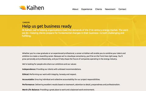 Screenshot of Jobs Page kaihen.ca - Help us get business ready | Kaihen | Getting Business Ready - captured Oct. 6, 2014