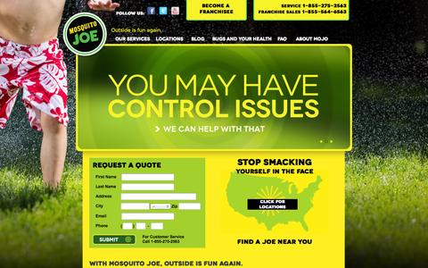 Screenshot of Home Page mosquitojoe.com - Mosquito Treatment and Control | Mosquito Joe - captured Oct. 7, 2014