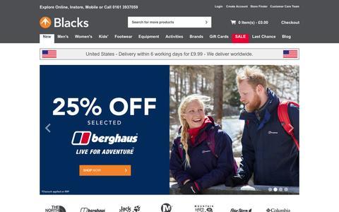 Screenshot of Home Page blacks.co.uk - Blacks - Outdoor Clothing, Waterproof Jackets, Camping, Tents, Sleeping Bags & Walking Boots   The North Face & Berghaus - Blacks - captured Oct. 1, 2015