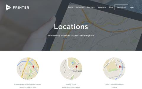 Screenshot of Locations Page frinter.co.uk - Locations - Frinter - Free Printing, Forever! - captured Oct. 6, 2014