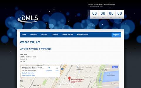 Screenshot of Maps & Directions Page musonline.com - Where We Are | Desautels Management Leadership Seminar - captured Oct. 4, 2014