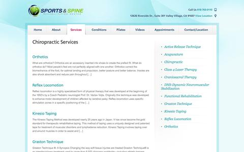 Screenshot of Services Page ssprehab.com - Chiropractic Services | Sports & Spine Rehabilitation Center - captured Oct. 26, 2014