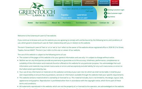 Screenshot of Terms Page greentouchservice.com - Terms of Use | GreenTouch Lawn & Tree - captured Sept. 21, 2017