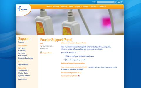 Screenshot of Support Page fourieredu.com - Fourier Support Portal - Fourier Education - captured Sept. 12, 2014