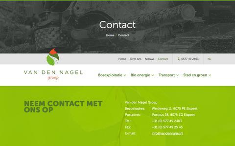 Screenshot of Contact Page vandennagel.nl - Neem contact met ons op voor al uw vragen! We helpen u graag. - captured Oct. 19, 2018