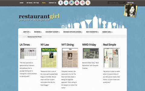 Screenshot of Press Page restaurantgirl.com - Restaurant Girl Press - Restaurant Girl New York - captured Sept. 23, 2014