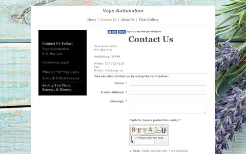 Screenshot of Contact Page vsys.us - Vsys Automation - Contact Us - captured Oct. 21, 2017