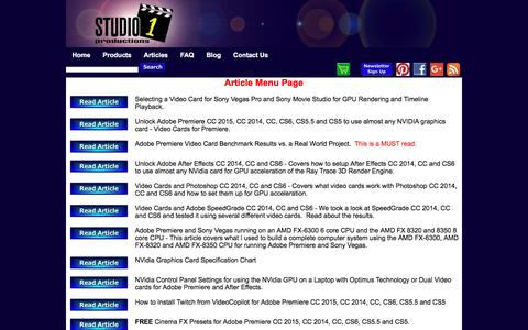 Screenshot of Menu Page studio1productions.com - Articles on Video Production, Video Editing and more - captured July 9, 2016