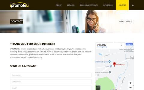 Screenshot of Contact Page ipromoteu.com - CONTACT | Promotional Products Distributor | iPROMOTEu - captured June 30, 2019