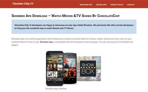 Screenshot of Home Page chocolatechip-ui.com - Showbox Apk Download & Show Box For Android | Chocolate Chip UI - captured Oct. 29, 2017