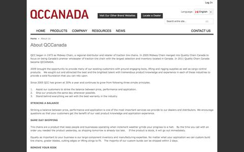 Screenshot of About Page qccanada.com - About Us - captured July 10, 2016