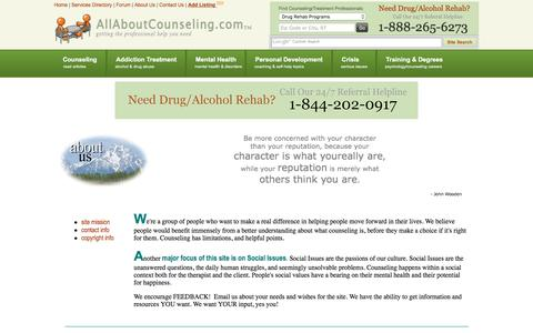Screenshot of About Page allaboutcounseling.com - All About Counseling About Us - captured Nov. 26, 2016