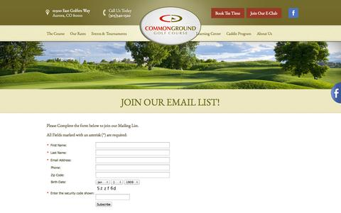 Screenshot of Signup Page commongroundgc.com - Join Our Email List! | CommonGround Golf Course - Aurora, CO - captured Oct. 8, 2014