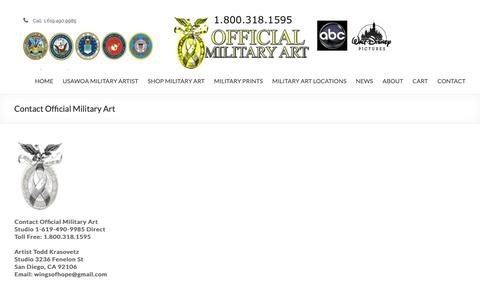 Screenshot of Contact Page official-military-art.com - Contact Official Military Art - captured Oct. 22, 2018