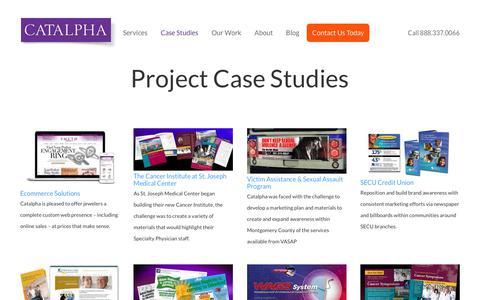 Screenshot of Case Studies Page catalpha.com - Case Studies | Catalpha - captured July 18, 2017