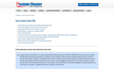 Screenshot of Privacy Page FAQ Page vacuumcleanercenter.com - Vacuum Cleaner Center FAQs - Vacuum Cleaner CenterVacuum Cleaner Center - captured April 10, 2017