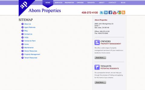 Screenshot of Site Map Page abornproperties.com - Sitemap - captured Oct. 4, 2014