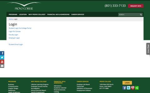 Screenshot of Login Page provocollege.edu - Login - Provo College - Provo & American Fork, Utah - captured Dec. 14, 2015