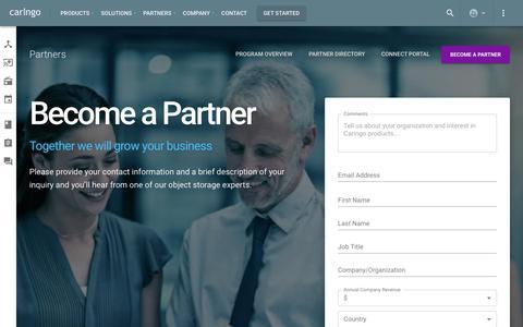 Screenshot of Signup Page caringo.com - Become a Certified Partner – Partners – Caringo - captured Nov. 7, 2019