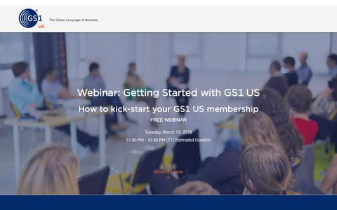 Screenshot of Landing Page gs1us.org captured March 27, 2018