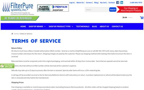 Screenshot of Terms Page filterpure.com - TERMS OF SERVICE - Filter Pure - captured Oct. 13, 2017