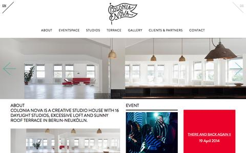 Screenshot of Home Page colonianova.com - Colonia Nova | Creative Loft - captured Oct. 3, 2014