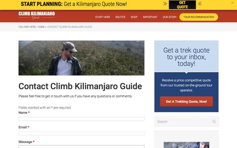 Screenshot of Contact Page climbkilimanjaroguide.com - Contact Climb Kilimanjaro Guide - Climb Kilimanjaro Guide - captured July 19, 2018