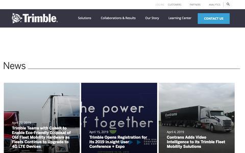 Screenshot of Press Page trimble.com - News   Trimble - captured May 16, 2019