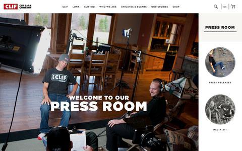 Screenshot of Press Page clifbar.com - Press Room - captured July 12, 2018