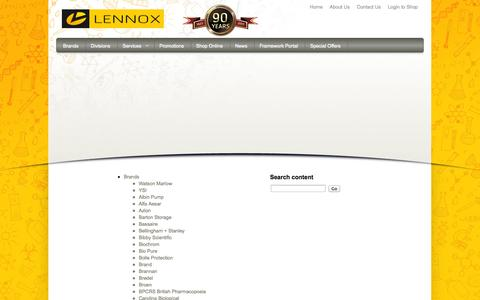 Screenshot of Site Map Page lennox.ie - Sitemap - Lennox Laboratory Supplies - captured Oct. 2, 2014