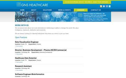 Screenshot of Jobs Page gnshealthcare.com - Work With Us | GNS Healthcare - captured July 18, 2014