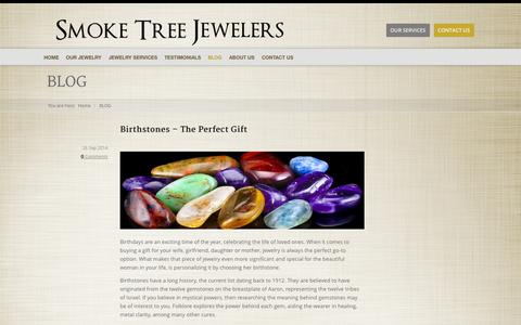 Screenshot of Blog smoketreejewelers.com - BLOG | Men's Jewelry Palm Springs | Women's Jewelry - captured Oct. 26, 2014