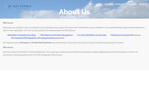 Screenshot of About Page zeitenergy.com - About Us - captured Oct. 27, 2014