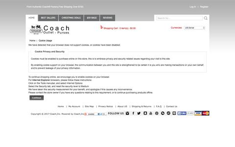 Screenshot of Login Page coachfactory2017.com - Cookie Usage : COACH Official Site - 2017 Coach Factory Outlet Store Online - captured Oct. 29, 2017