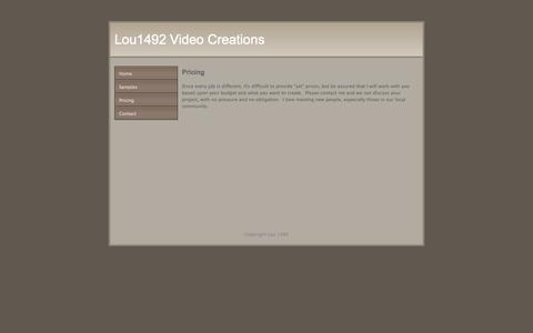Screenshot of Pricing Page 1492video.com - Pricing - Lou1492 Video Creations - captured Oct. 27, 2014