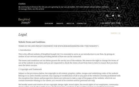 Screenshot of Terms Page berghindjoseph.com - Legal | BergHind Joseph - captured Oct. 5, 2014