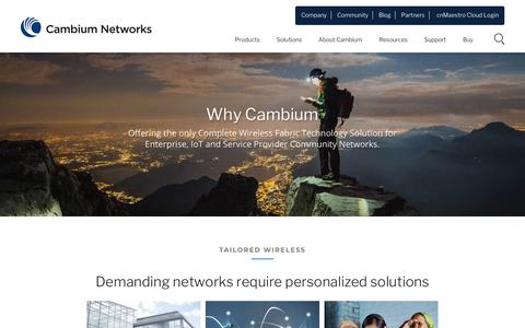 Screenshot of About Page cambiumnetworks.com - Why Cambium? Wireless Fabric. Material for Life. | Cambium Networks - captured May 10, 2019